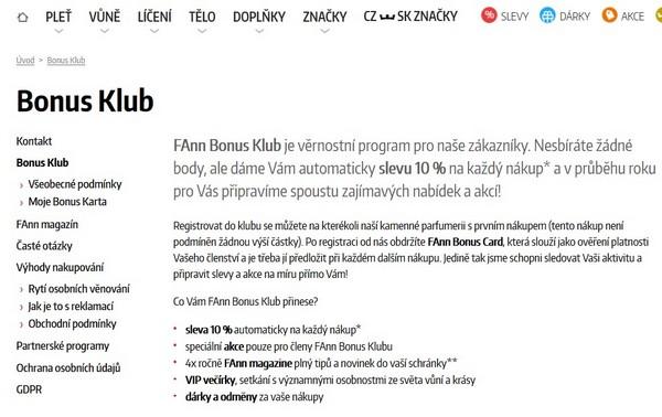 Fann Parfumerie bonus klub