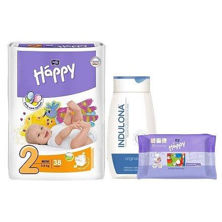 Bella Happy Mini dětské pleny 38 ks + Indulona 250ml a ubrousky 24ks