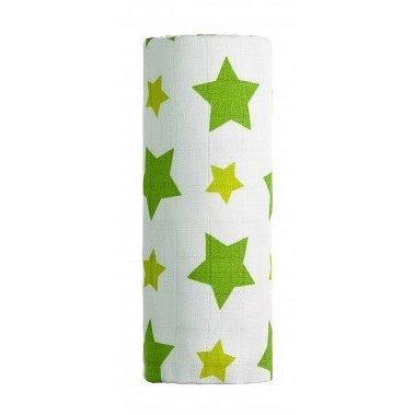 BIO Bambusová osuška, zelené hvězdičky 90x100 cm