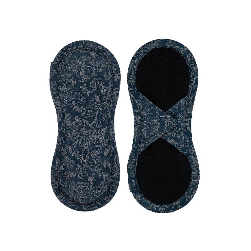 BAMBOOLIK Vložka látková slipová biobavlna satén (suchý zip) 1ks, Tmavě modré ornamenty