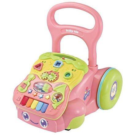 Dětské hrající edukační chodítko Baby Mix růžové
