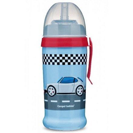 56/516_blud Sportovní láhev se silikonovou nevylévací slámkou AUTA 350 ml tmavě modrá