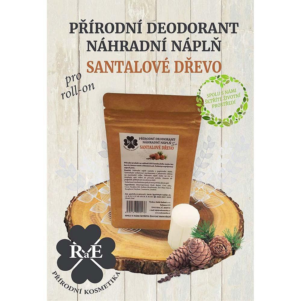 RAE Přírodní deodorant roll-on Náhradní náplň Santalové dřevo 22 g