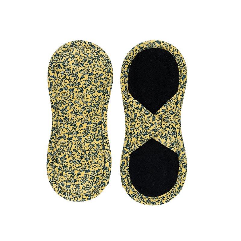 BAMBOOLIK Vložka látková slipová biobavlna satén (suchý zip) 1ks, Tmavě modré ornamenty na zlatavě ž