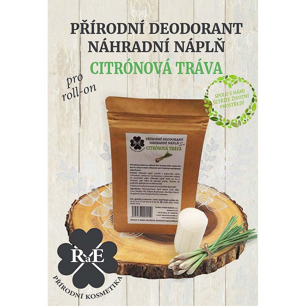 RAE Přírodní deodorant roll-on Náhradní náplň Citronová tráva 22 g