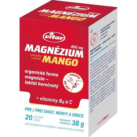 Vitar Magnezium 400mg + vit.B6 + vit.C 20 sáčků