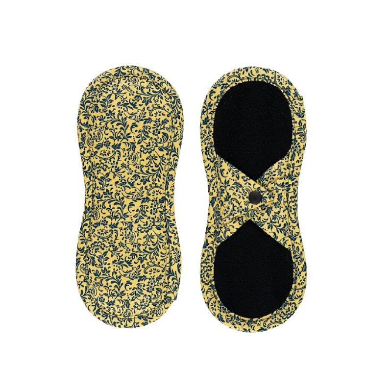 BAMBOOLIK Vložka látková slipová biobavlna satén (patentky), Tmavě modré ornamenty na zlatavě žluté