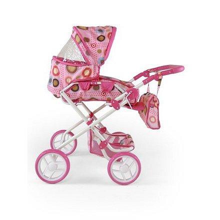 Kombinovaný kočárek pro panenky Milly Mally Paulína růžovo-hnědý