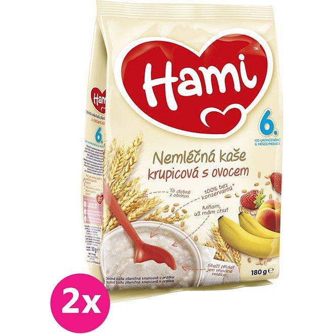 2x HAMI Krupicová s ovocem (180 g) - nemléčná kaše
