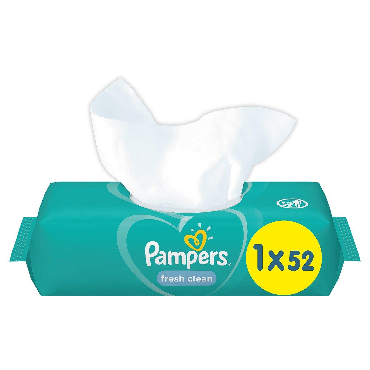 Pampers Fresh Clean vlhčené ubrousky 52 ks