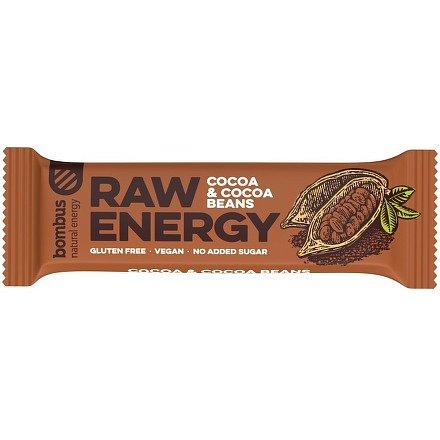 Bombus, tyčinka RAW energy, cocoa&cocoa beans 5x50 g