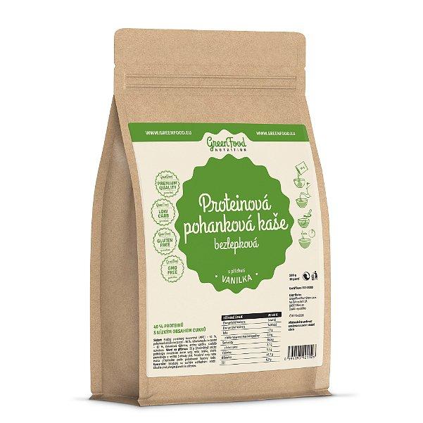 GreenFood Nutrition Proteinová pohanková kaše bezlepková vanilka 500g