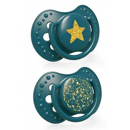 LOVI Dudlík silikonový dynamický STARDUST 18m+ 2ks zelený
