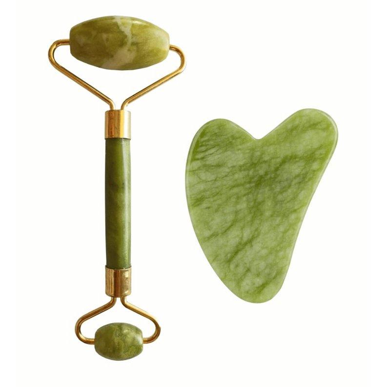 Palsar7 Masážní váleček a destička Guasha (zelený xiuyan jadeit)