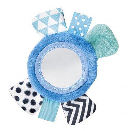 68/056_blu Šustící plyšová hračka na ruku se zrcátkem ZIG ZAG modrá