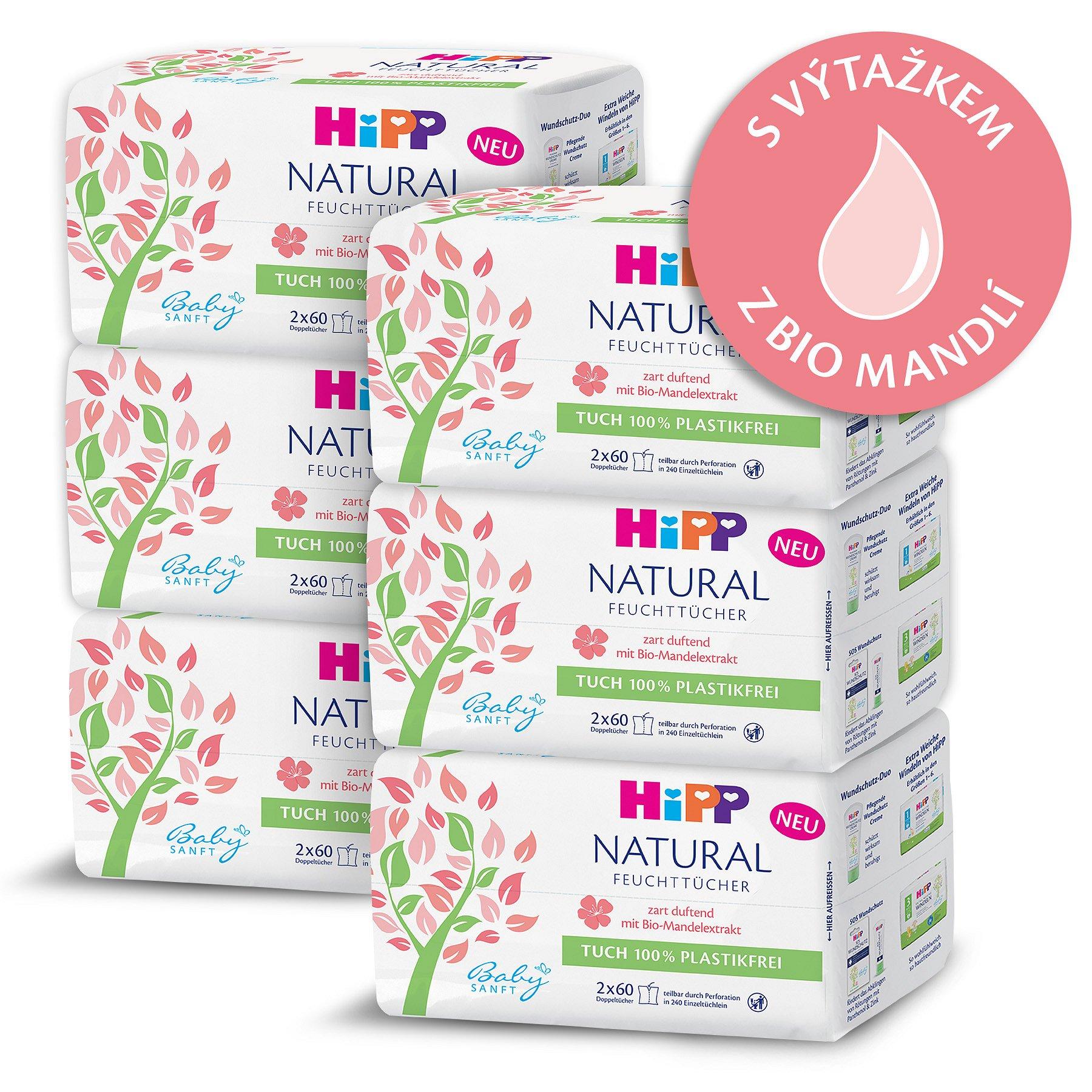 6x HIPP Babysanft Čistící vlhčené ubrousky Natural 2x60 ks