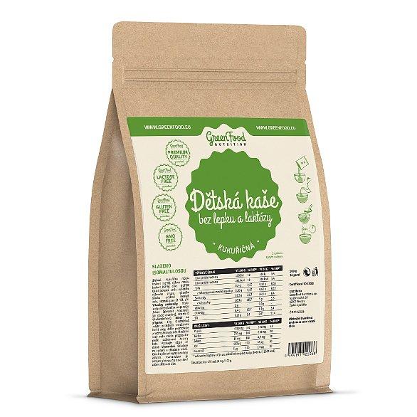 GreenFood Nutrition Dětská kaše bez lepku a laktózy kukuřičná 500g