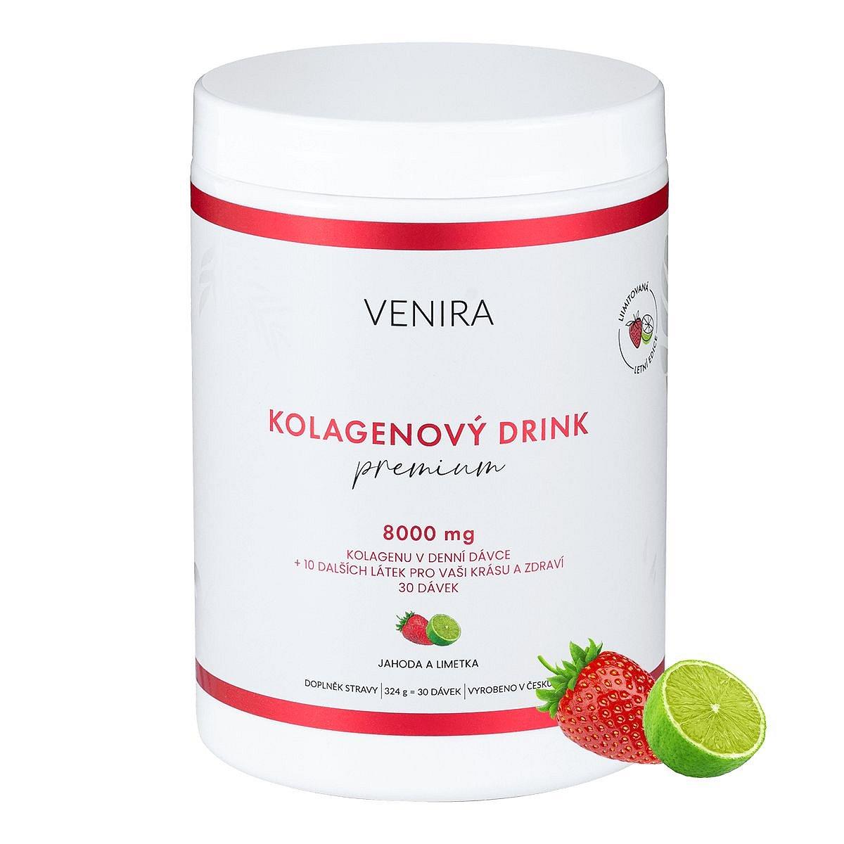 Venira Kolagenový drink Premium jahoda a limetka 324 g