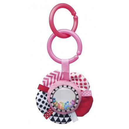 68/057_pin Šustící plyšová hračka s chrastítkem ZIG ZAG stuha růžová