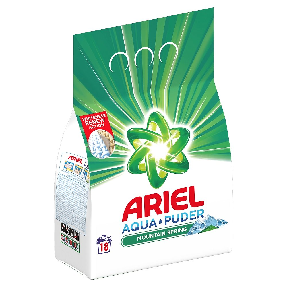 Ariel Prací prášek AquaPuder Mountain Spring, 18 Praní 1,35 kg