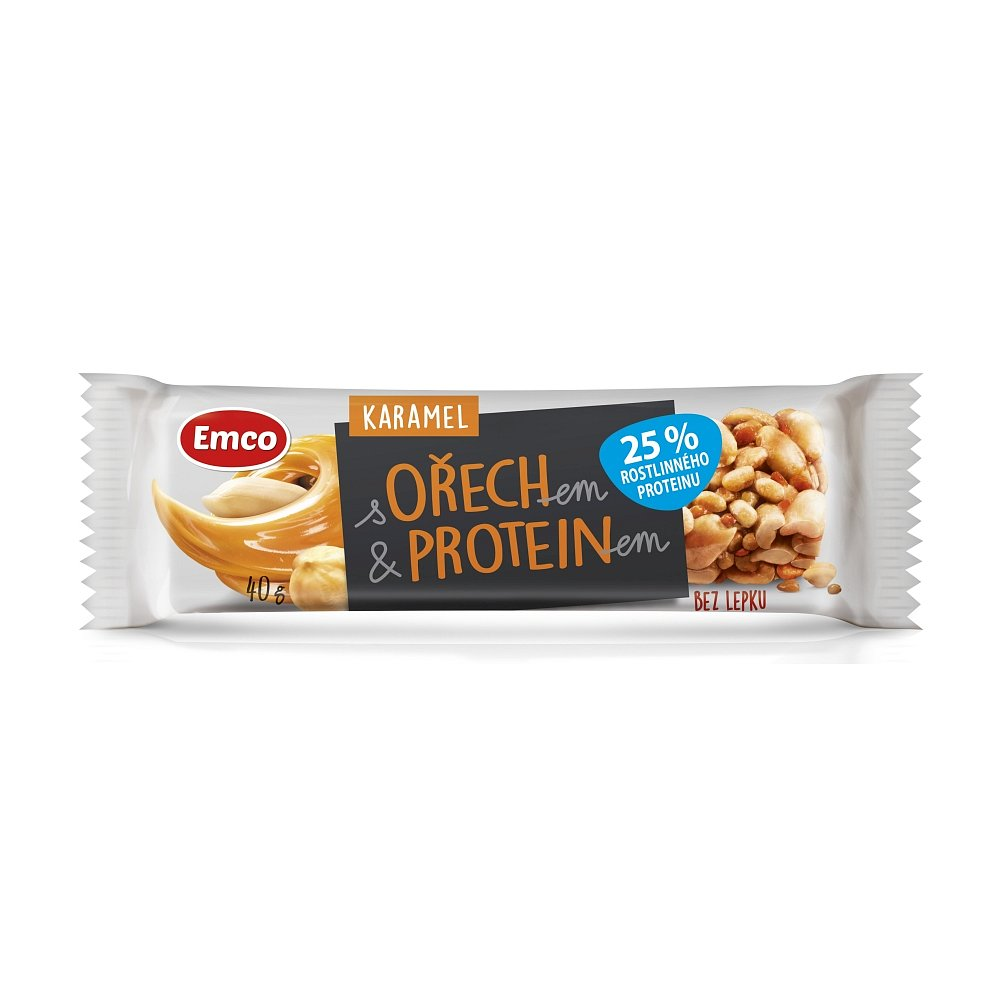 EMCO Tyčinka s ořechem a proteinem Karamel 40 g