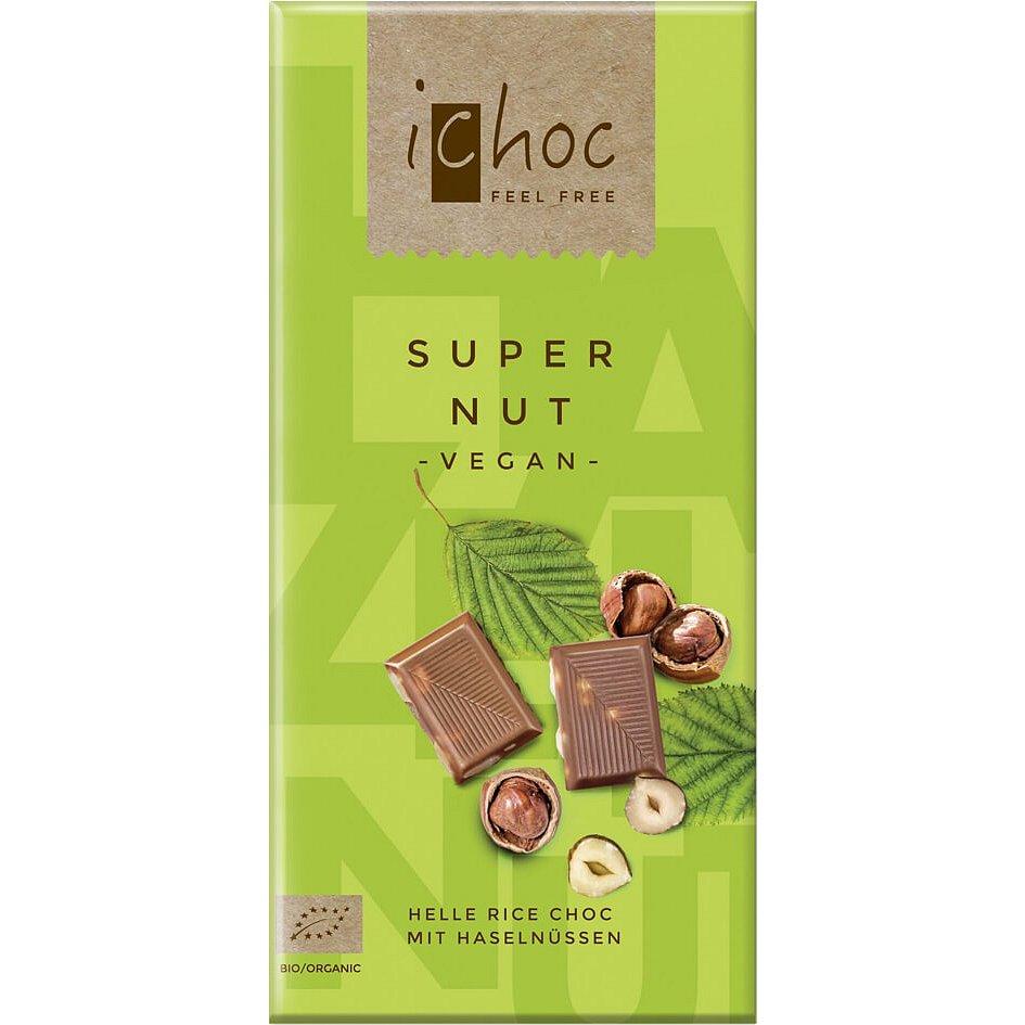 iChoc Bio vegan čokoláda s oříšky 80g