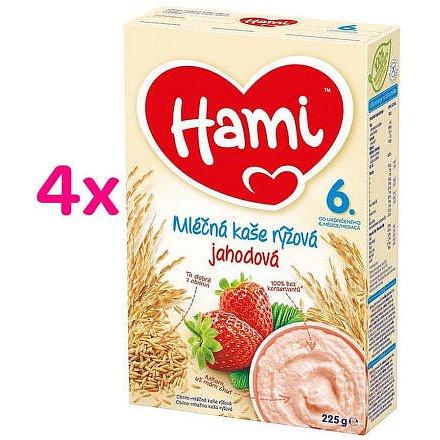 Hami kaše mléčná rýžová s jahodami 6M 225g 4-pack