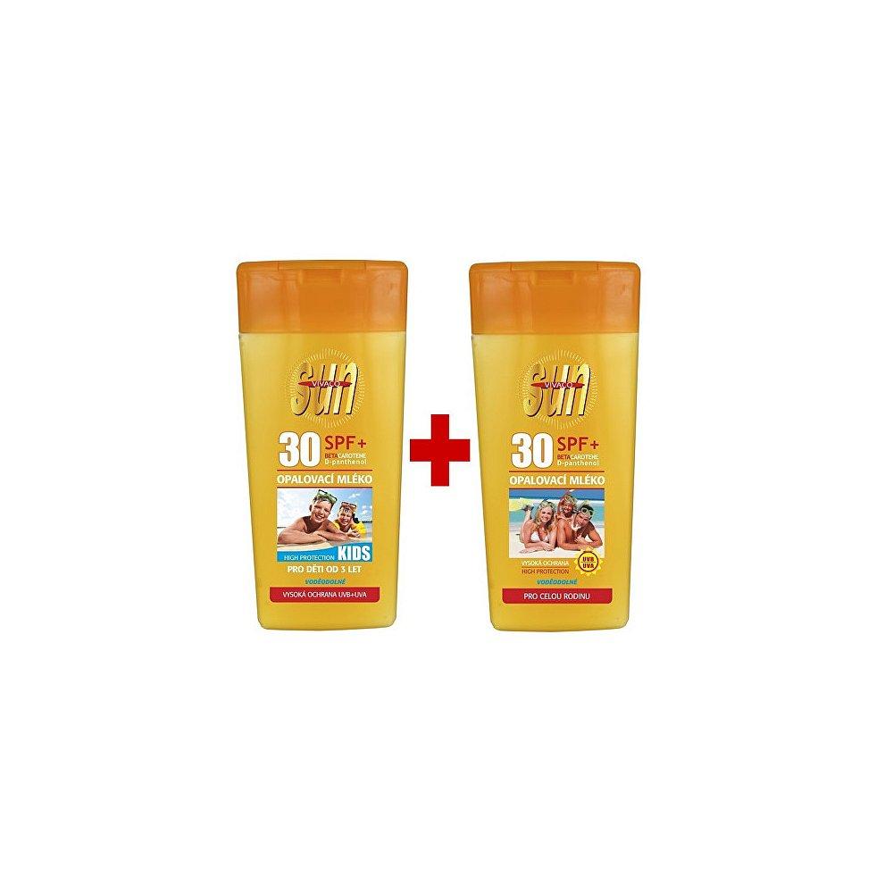 VIVACO Sun Opalovací mléko Family SPF 30 + Opalovací mléko pro děti Kids SPF 30 2 x 200 ml