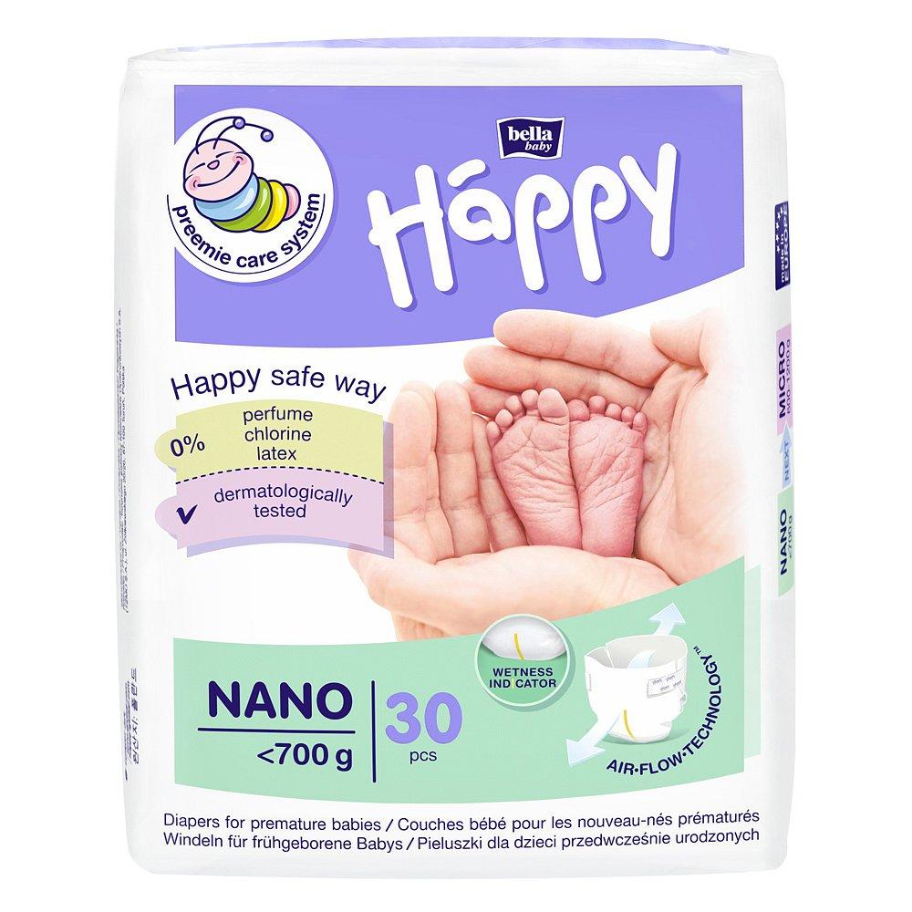 HAPPY Nano Dětské plenky do 700 g 30 ks