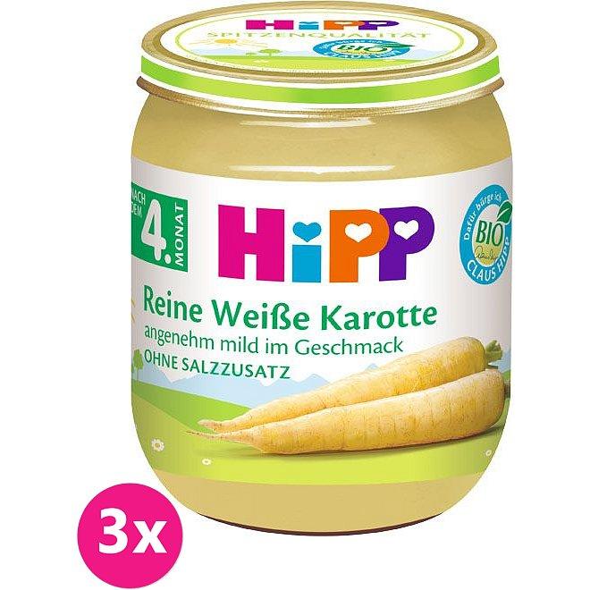 3x HIPP BIO Bílá bezlepková mrkev, 125 g - zeleninový příkrm