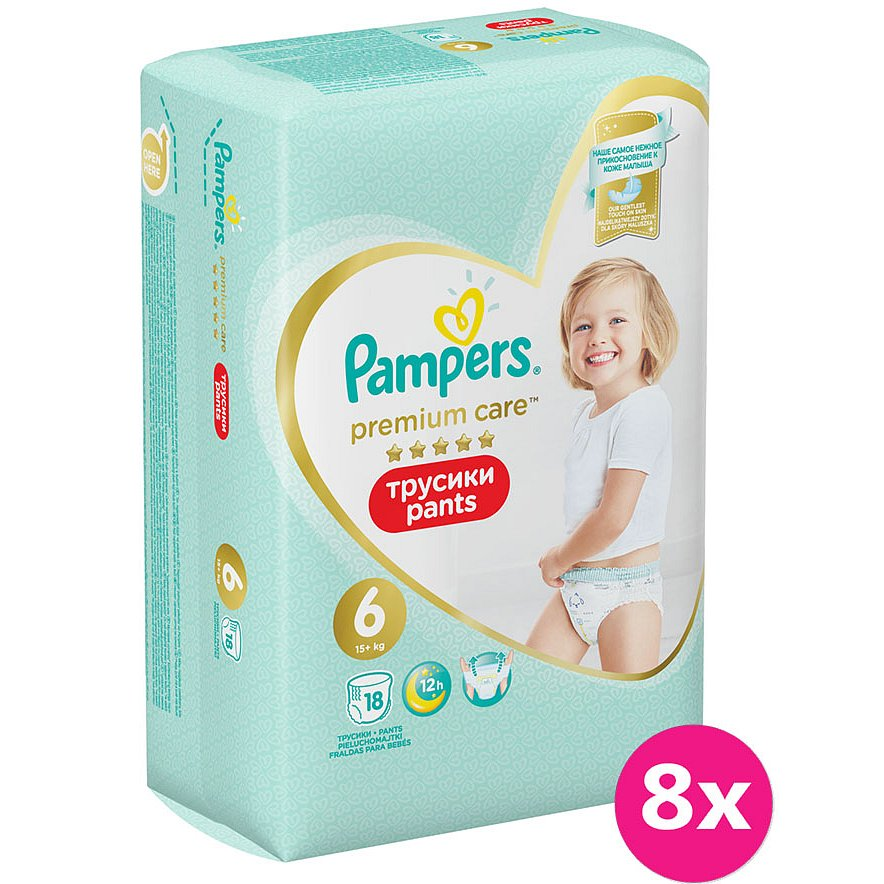 8x PAMPERS Premium Care Pants 6 MAXI (15+ kg) 18 ks Carry Pack – plenkové kalhotky