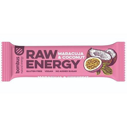 Bombus, tyčinka RAW energy, maracuja&coconut 5x50 g