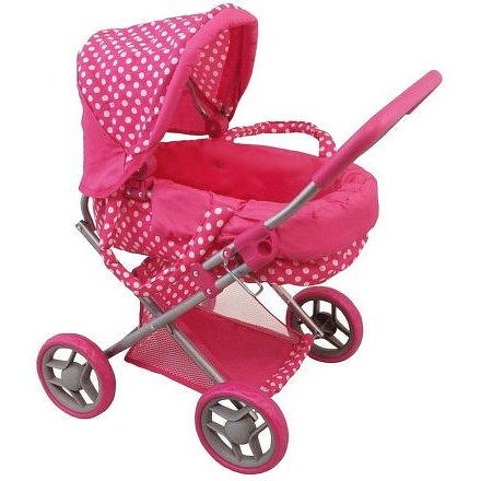 Hluboký kočárek pro panenky Baby Mix puntíkovaný růžový