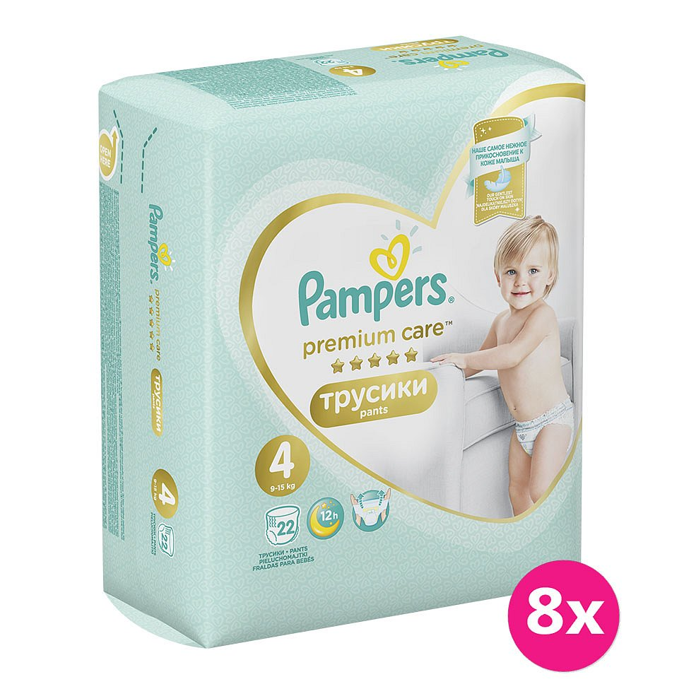 8x PAMPERS Premium Care Pants 4 MAXI (9-15 kg) 22 ks Carry Pack – plenkové kalhotky