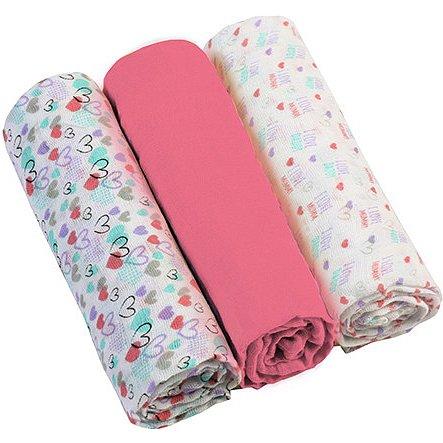 BABYONO Pleny mušelínové Super soft 3ks růžové