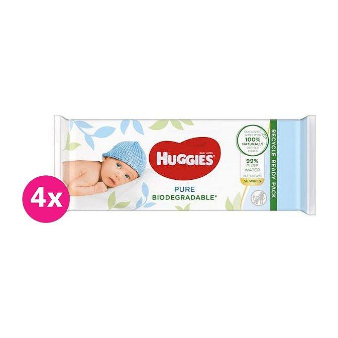 4x HUGGIES Vlhčené ubrousky Pure Biodegradable 56 ks