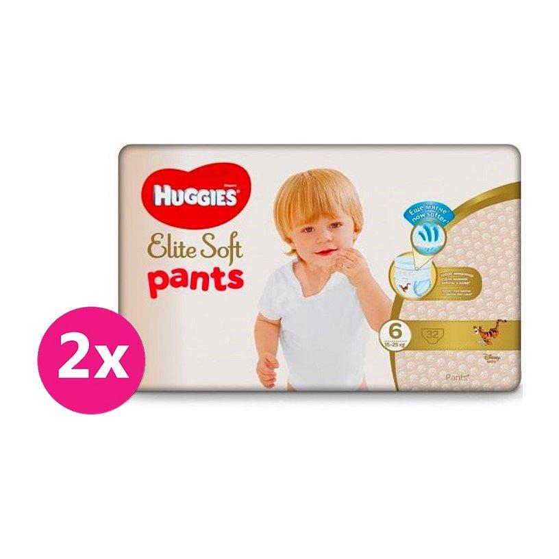 2x HUGGIES® Elite Soft Pants XXL jednorázové pleny vel. 6, 32 ks