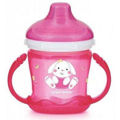CANPOL BABIES Nevylévací hrníček Sweet Fun 180 ml – růžový