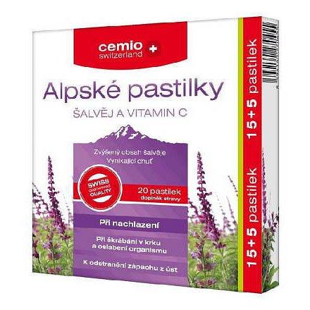 Cemio Alpské pastilky šalvěj a vitamin C 20 kapslí