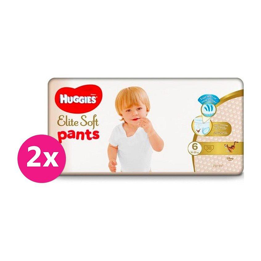2x HUGGIES® Elite Soft Pants XXL jednorázové pleny vel. 6, 38 ks