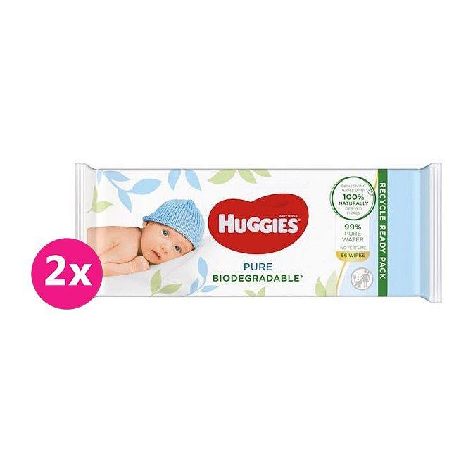 2x HUGGIES Vlhčené ubrousky Pure Biodegradable 56 ks