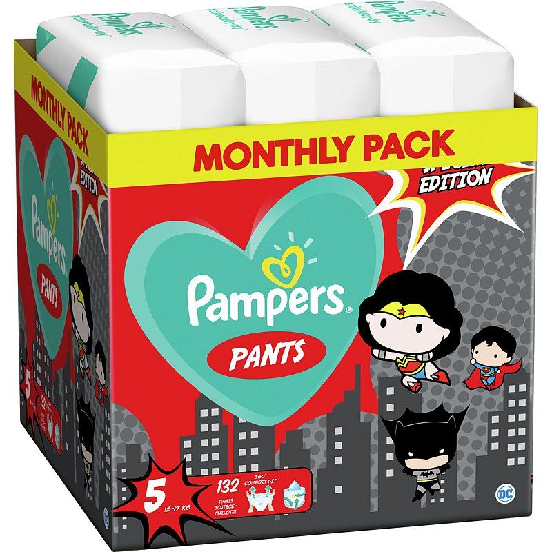 2x PAMPERS Plenkové kalhotky Pants vel. 5, 66 ks, 12-17 kg Warner Bros LTD