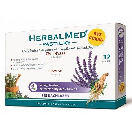 HerbalMed Dr.Weiss pastilky BEZ CUKRU Šalvěj-ženšen 12 ks