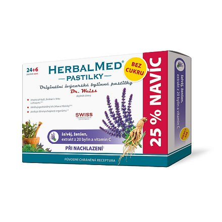 HerbalMed Dr.Weiss pastilky BEZ CUKRU Šalvěj-ženšen 24+6 ks