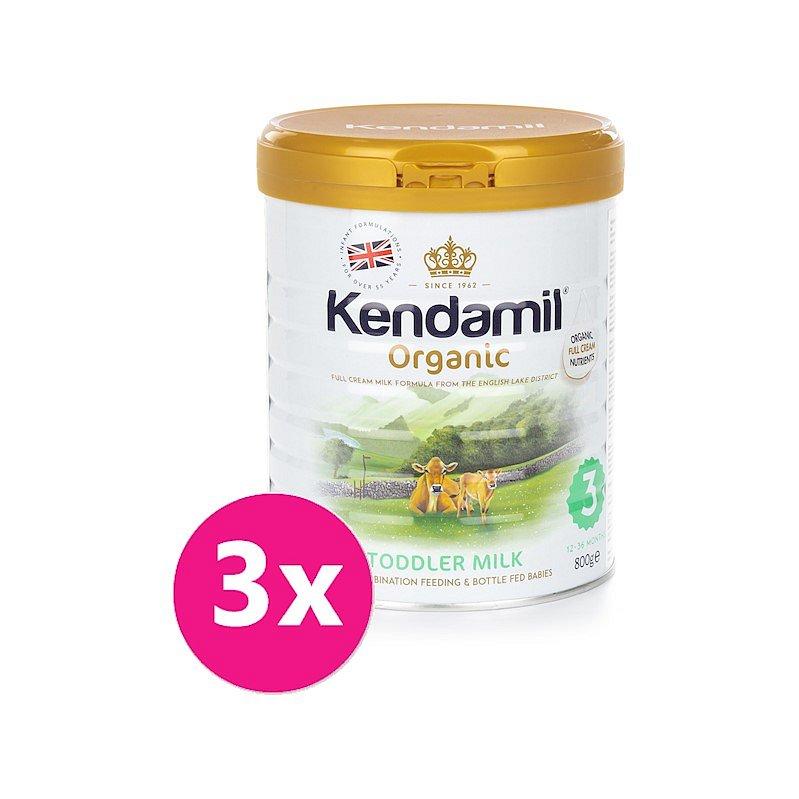 3x KENDAMIL Batolecí BIO mléko 3 (800 g) DHA+