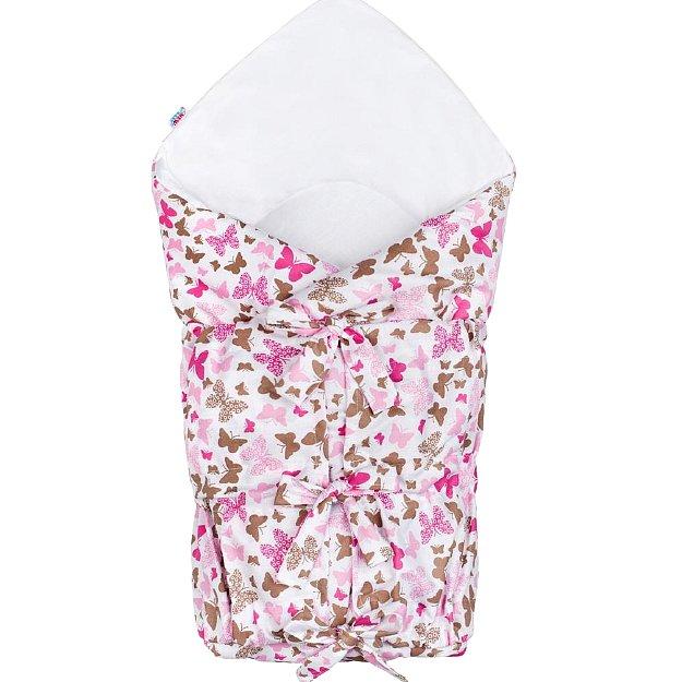 New Baby Klasická šněrovací zavinovačka růžoví motýli