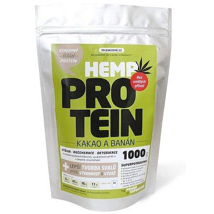 Zelená Země Konopný protein 1kg  kakao s banánem