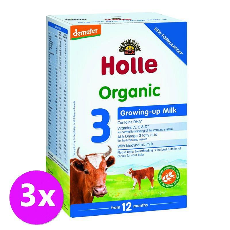 3 x HOLLE Bio Dětská mléčná výživa 3 pokračovací