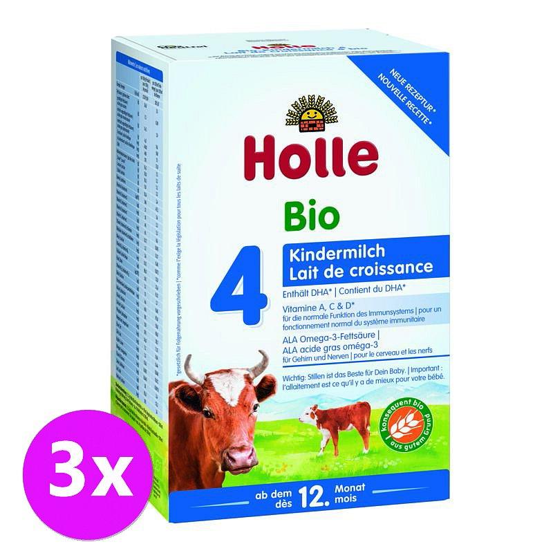 3 x HOLLE Bio Dětská mléčná výživa 4 pokračovací