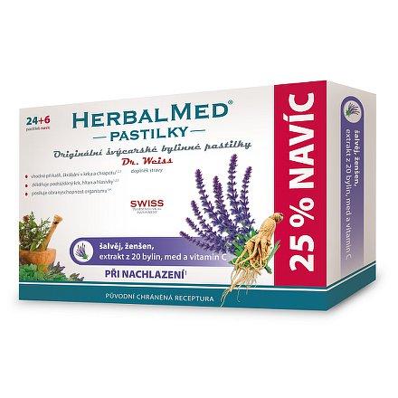 HerbalMed Dr.Weiss pastilky Šalvěj-ženšen 24+6 ks